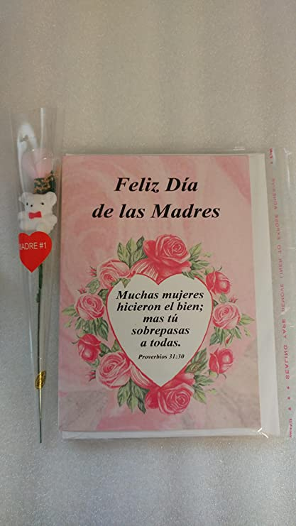 Spanish Mothers Day Card & Scented Mini Rose with teddy bear ...