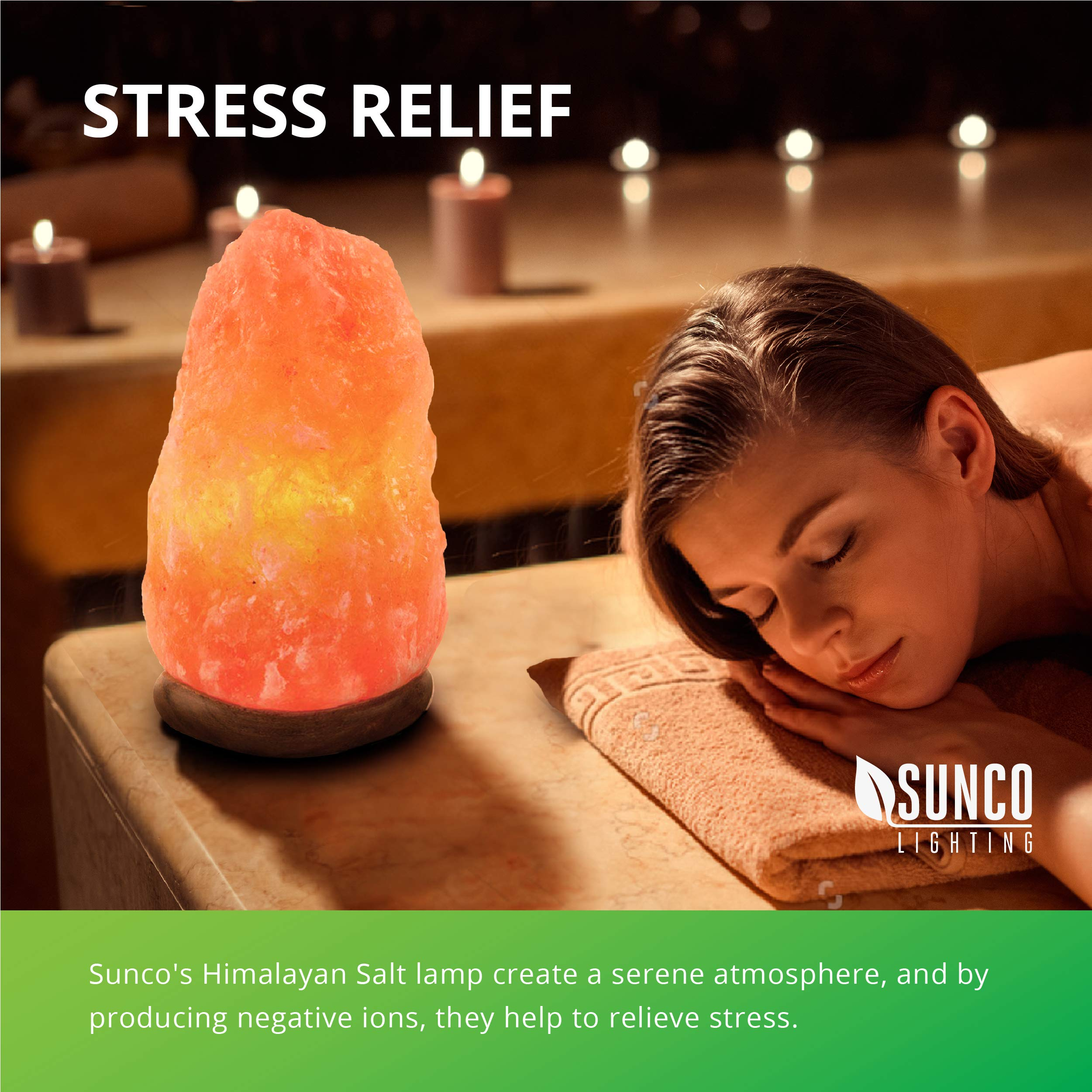 Sunco Lighting 6 Pack Crystal Salt Lamp, 5-10 lbs, Natural Himalayan Salt, Hand Crafted, Rose Wood Base, Dimmable, Warm Amber Glow by Sunco Lighting (Image #1)