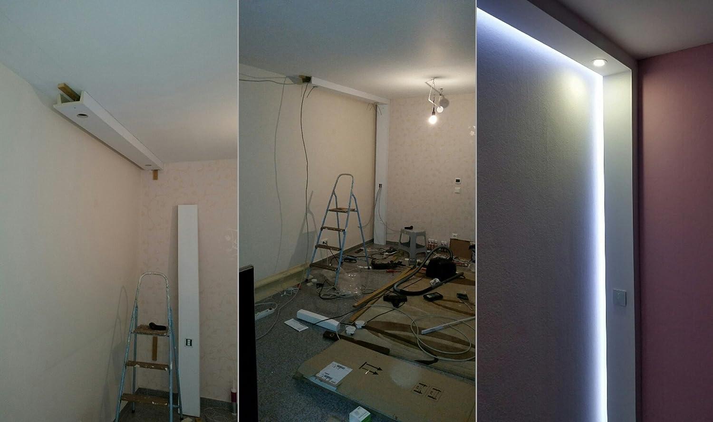 2 metros de caja de poliuretano, luz LED, perfil para el techo, resistente a golpes 80 x 200, 11 LEDs: Amazon.es: Bricolaje y herramientas