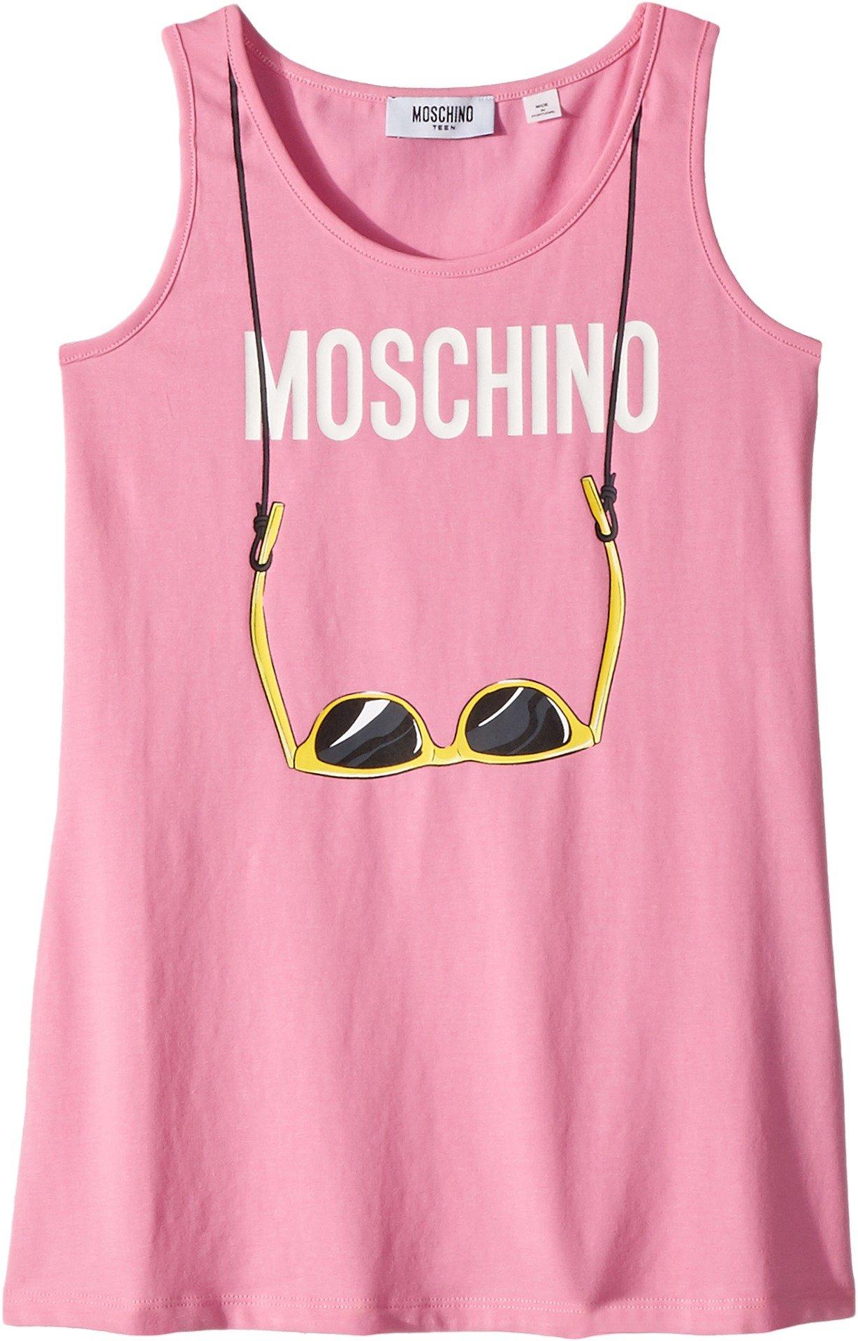 Moschino Kids Girl's Logo Sunglasses Graphic Tank Top (Big Kids) Rosa Pop 12