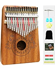 Kalimba 17 Keys Thumb Piano with Study Instruction and Tune Hammer, Portable Mbira Sanza African Wood Finger Piano for Kids Adult Beginners