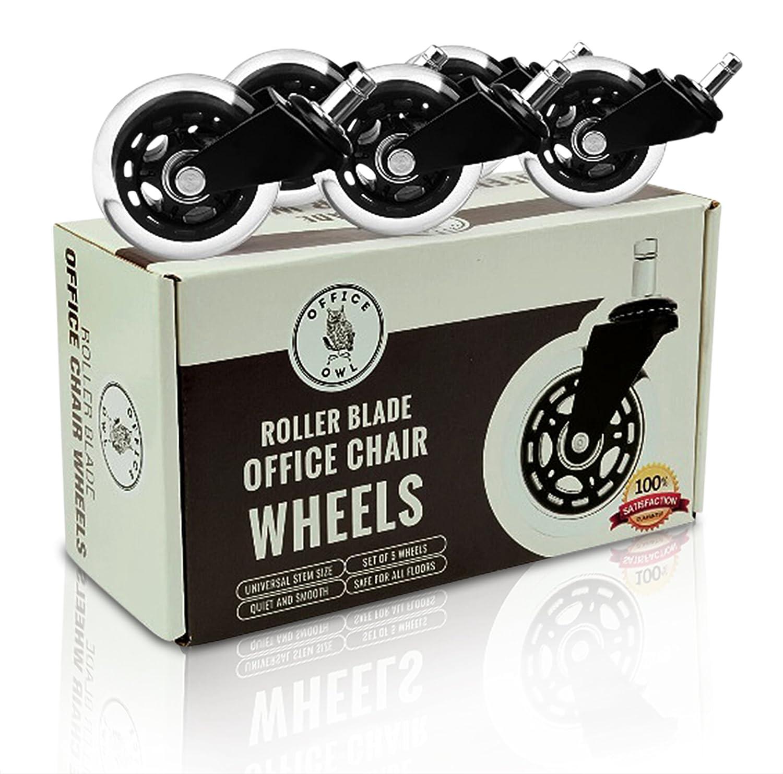 Ruedas de silla de oficina, de Office Owl, para oficinas y hogares inteligentes, juego de 5 ruedas de repuesto de goma resistente (7,6 cm), ...