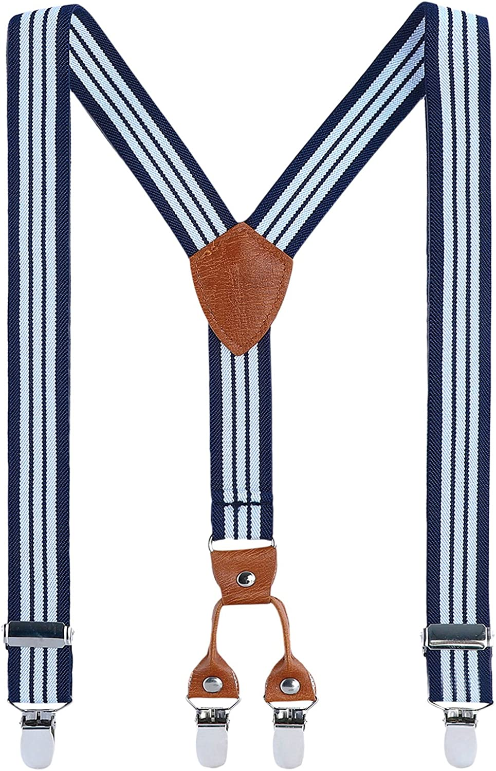 Grain Leather Elasticated Adjustable with 4 Clips Y shape Suspender Children Braces Clip on Suspenders