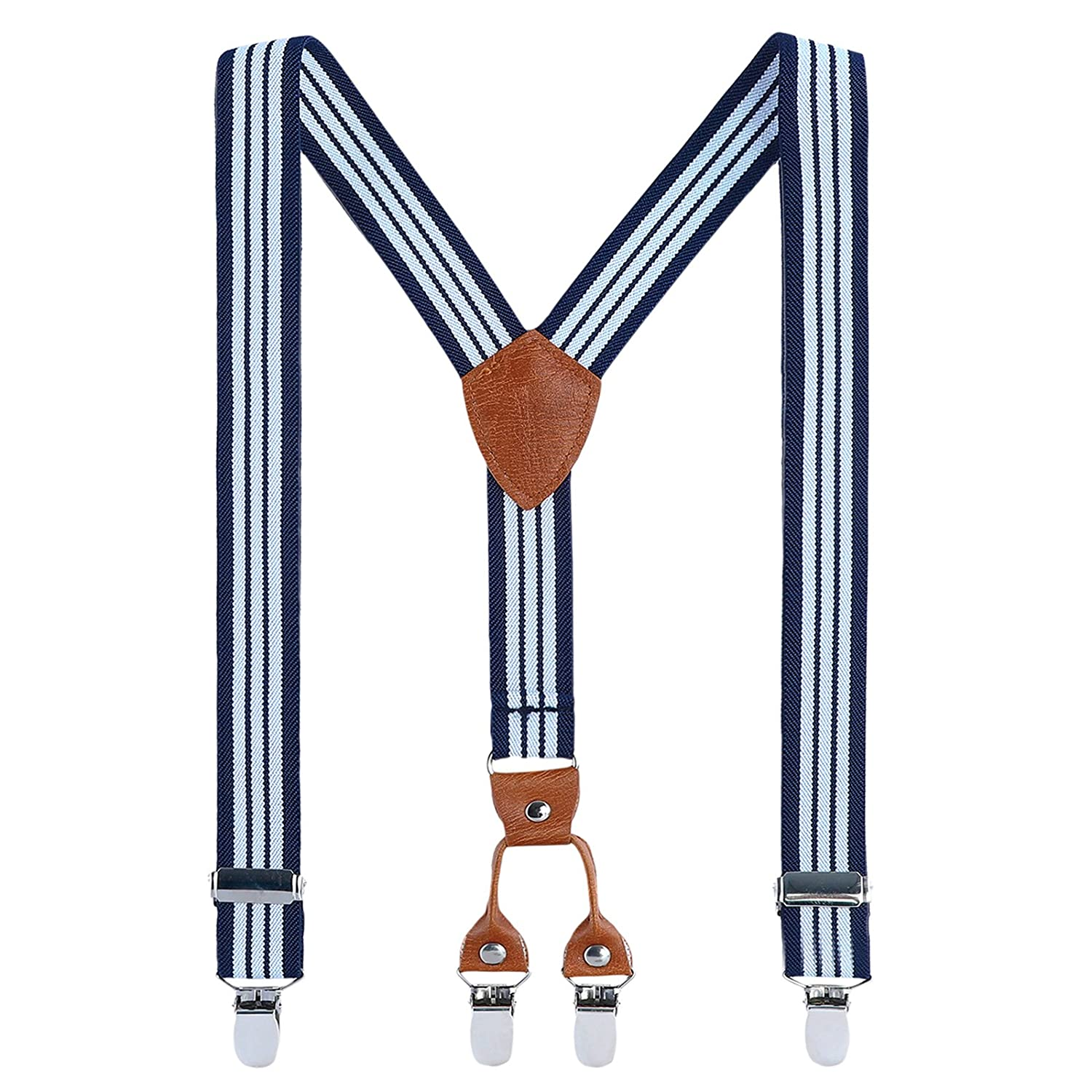 Children Braces Clip on Suspenders - Grain Leather Elasticated Adjustable with 4 Clips Y shape Suspender