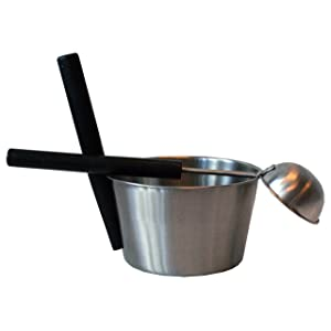 Sauna Set - 2 pcs: Sauna bucket & ladle - stainless steel with black handle (Saunia)
