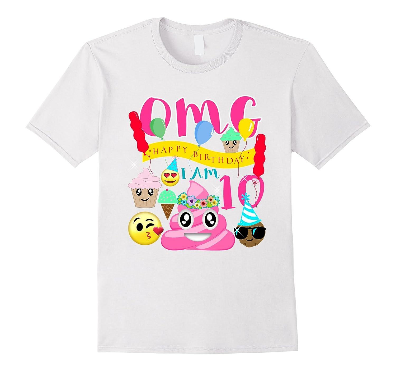 Pink Poo Emoji Poop Birthday Shirt 10th Party 10 Years Old TJ