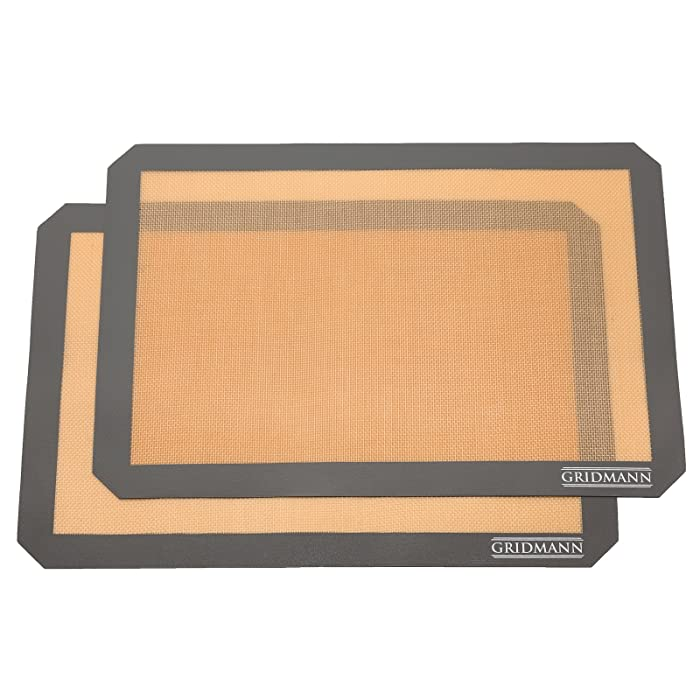 "GRIDMANN Pro Silicone Baking Mat - Set of 2 Non-Stick Half Sheet (16-1/2"" x 11-5/8"") Food Safe Tray Pan Liners"