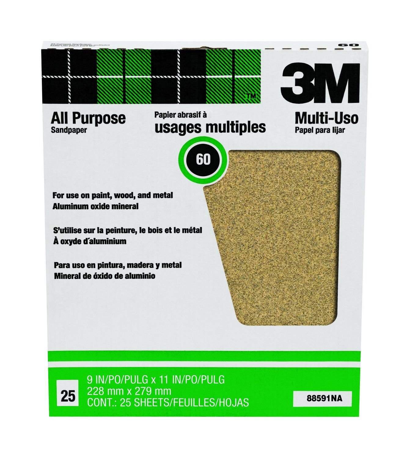 3M 346U Abrasive Sheet Aluminum Obyide 11 Length D Weight 60 Grit 9 Width Pack of 25 Paper Backing