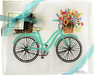 product image for Alice's Cottage Spring Bicycle Flour Sack Kitchen Towels Set of 2 Cotton