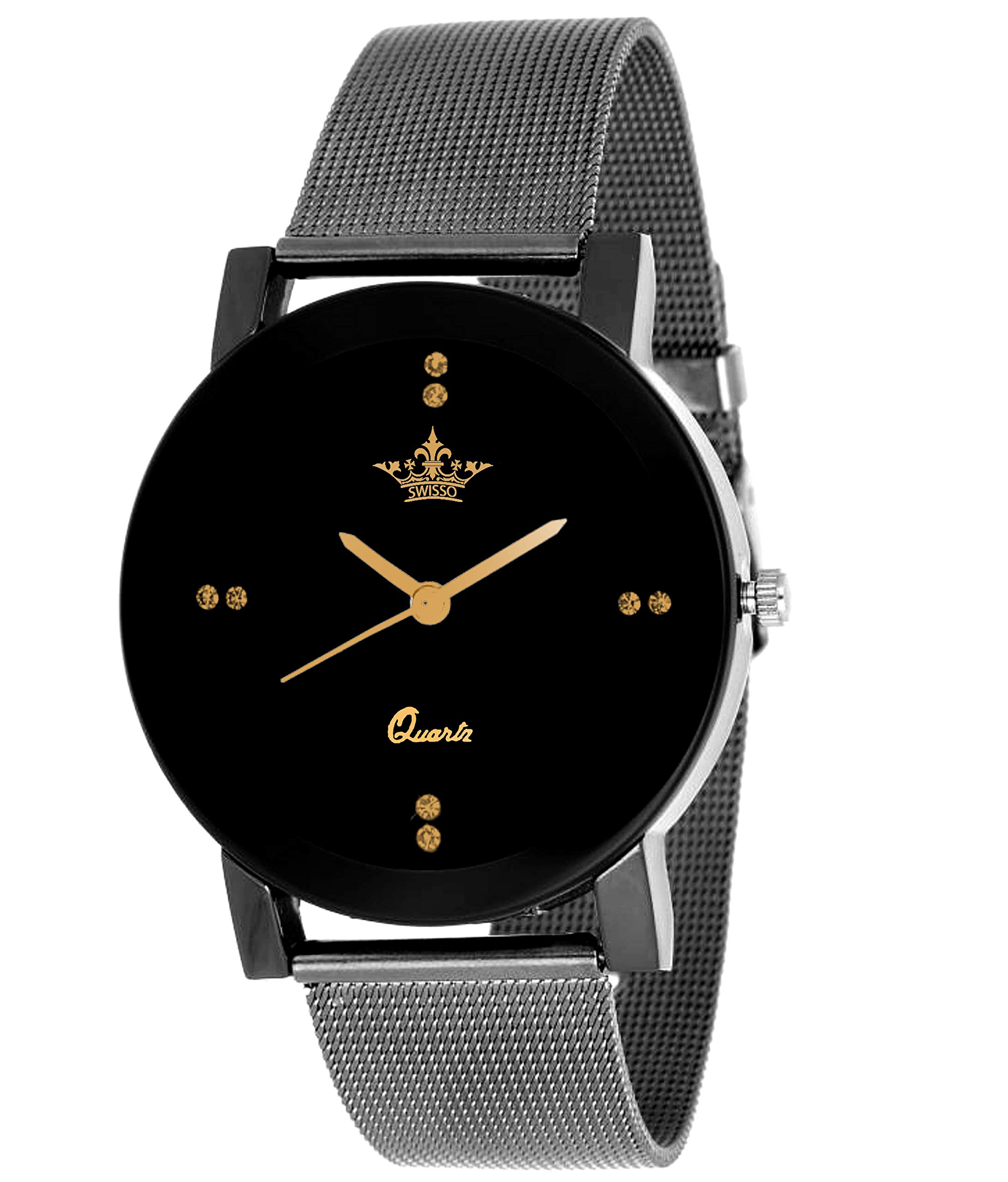 Swisso Silver-Grey Analogue Black Dial Women's Watch - SWS-1133-Cloudy-Grey product image