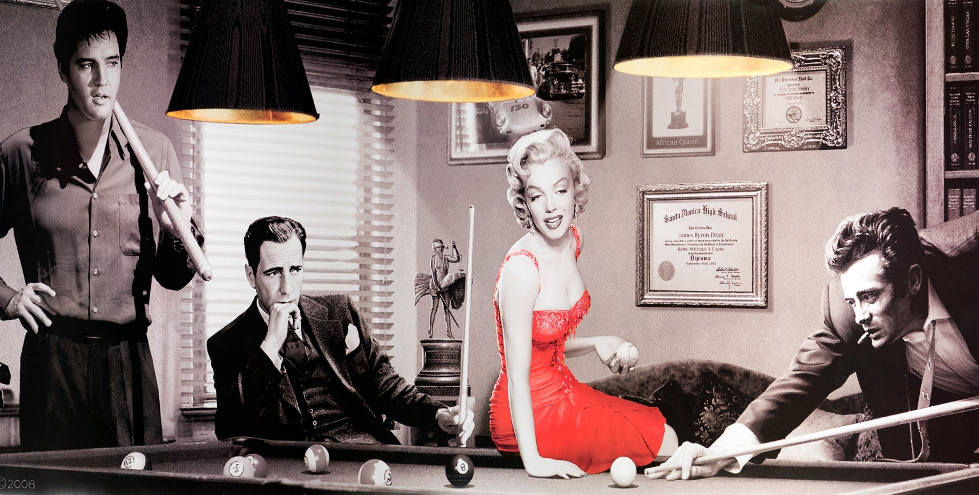 Game of Fate James Dean Elvis Presley Marilyn Monroe Humphrey Bogart Canvas Print 1061
