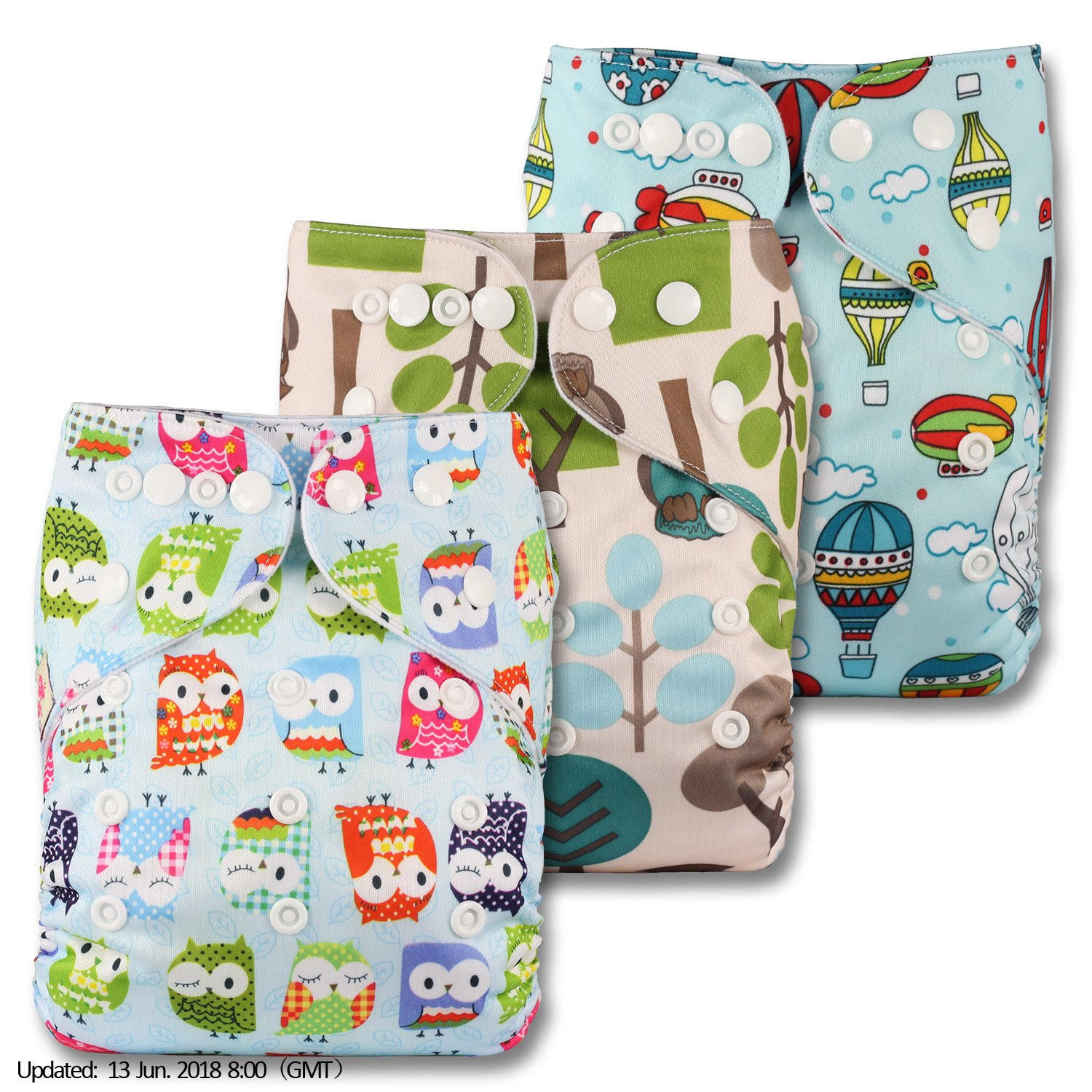 Littles & Bloomz, Reusable Pocket Cloth Nappy, Fastener: Popper, Set of 3, Patterns 303, Without Insert