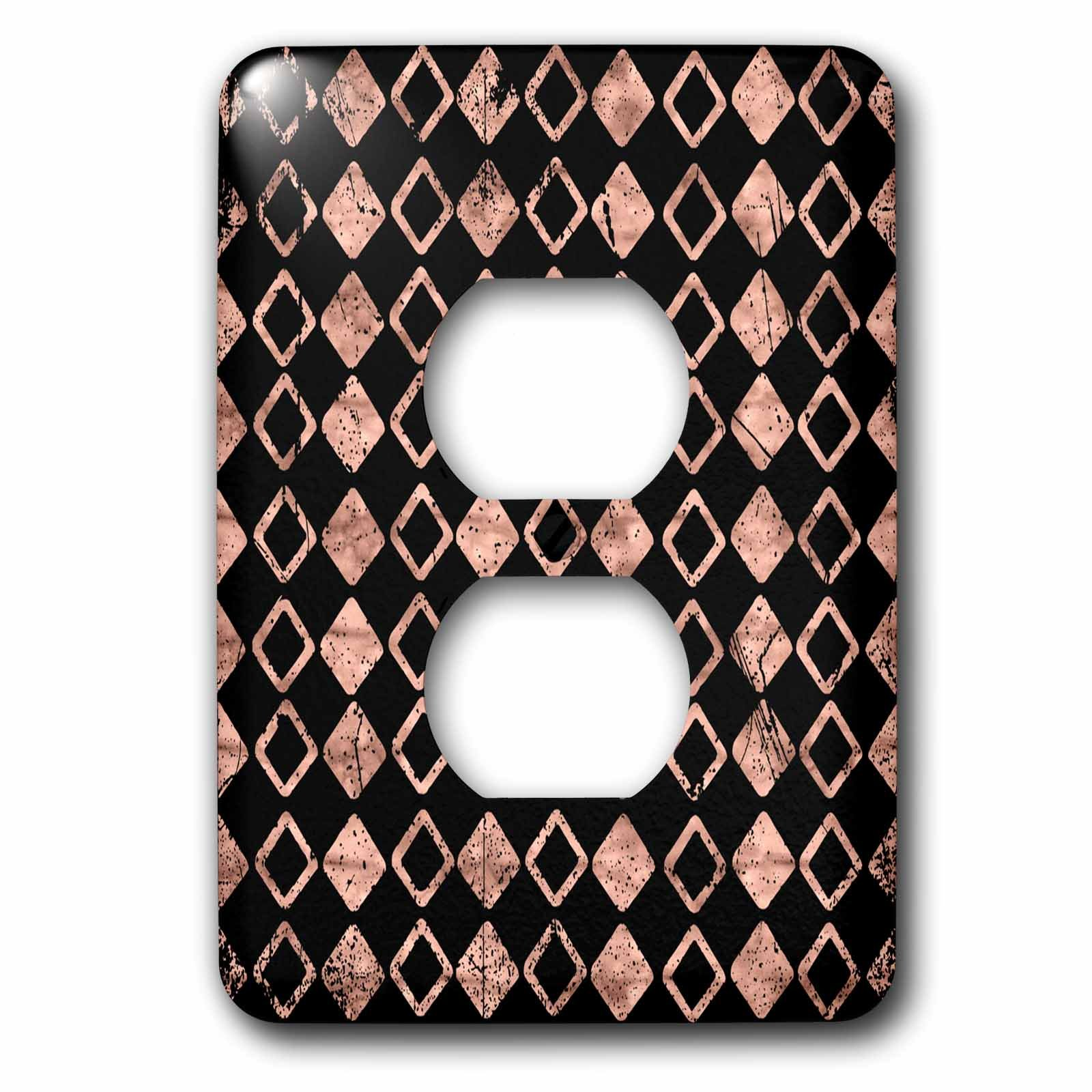 3dRose Uta Naumann Faux Glitter Pattern - Luxury Chic and Trendy Shiny Geometric Rosegold Pattern on Black - Light Switch Covers - 2 plug outlet cover (lsp_269033_6)
