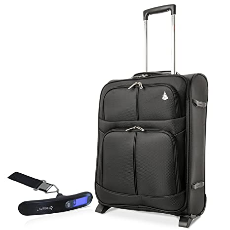 a08a211fa Aerolite 55x40x20cm Ryanair Maximum Allowance 42L Lightweight Travel Carry  On Hand Cabin Luggage Suitcase with 2