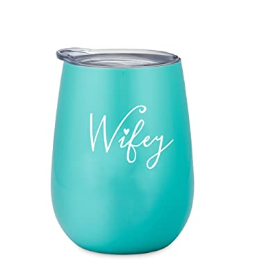 Wifey Tumbler - 10 oz Stainless Steel Wine Tumbler with Lid (Mint and White)