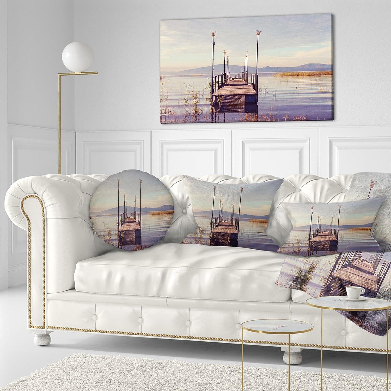 Sofa Throw Pillow 20 Designart Cu10808 20 20 C Wooden Boardwalk To Clear Sea Water Bridge