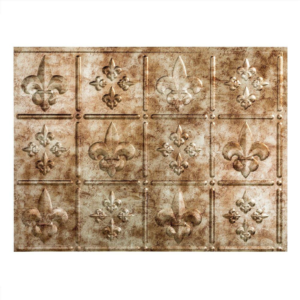 Fasade Easy Installation Fleur de Lis Bermuda Bronze Backsplash Panel for Kitchen and Bathrooms (18'' x 24'' Panel) by FASÄDE