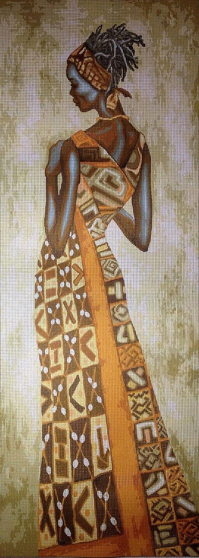 25x70cm Printed Canvas 398 hudemas Needlepoint Kit African Woman 9.8x27.5