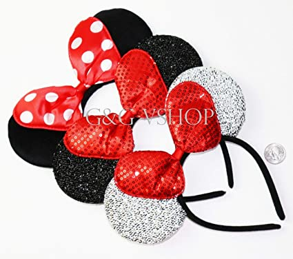 15 Minnie Mouse Ears Headbands Black With Red Bow Party Favors Costume Mickey