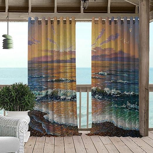 Linhomedecor - Cortinas Impermeables para jardín, Pintura al óleo sobre el Sol en el mar, Bellas Obras de Arte al Aire Libre, Paisaje Natural de Brisa, pérgola pálida, con Ojales Impresos: Amazon.es: