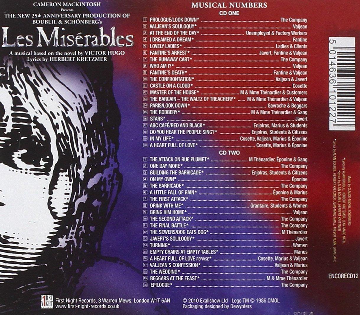 les miserables 25th anniversary recording