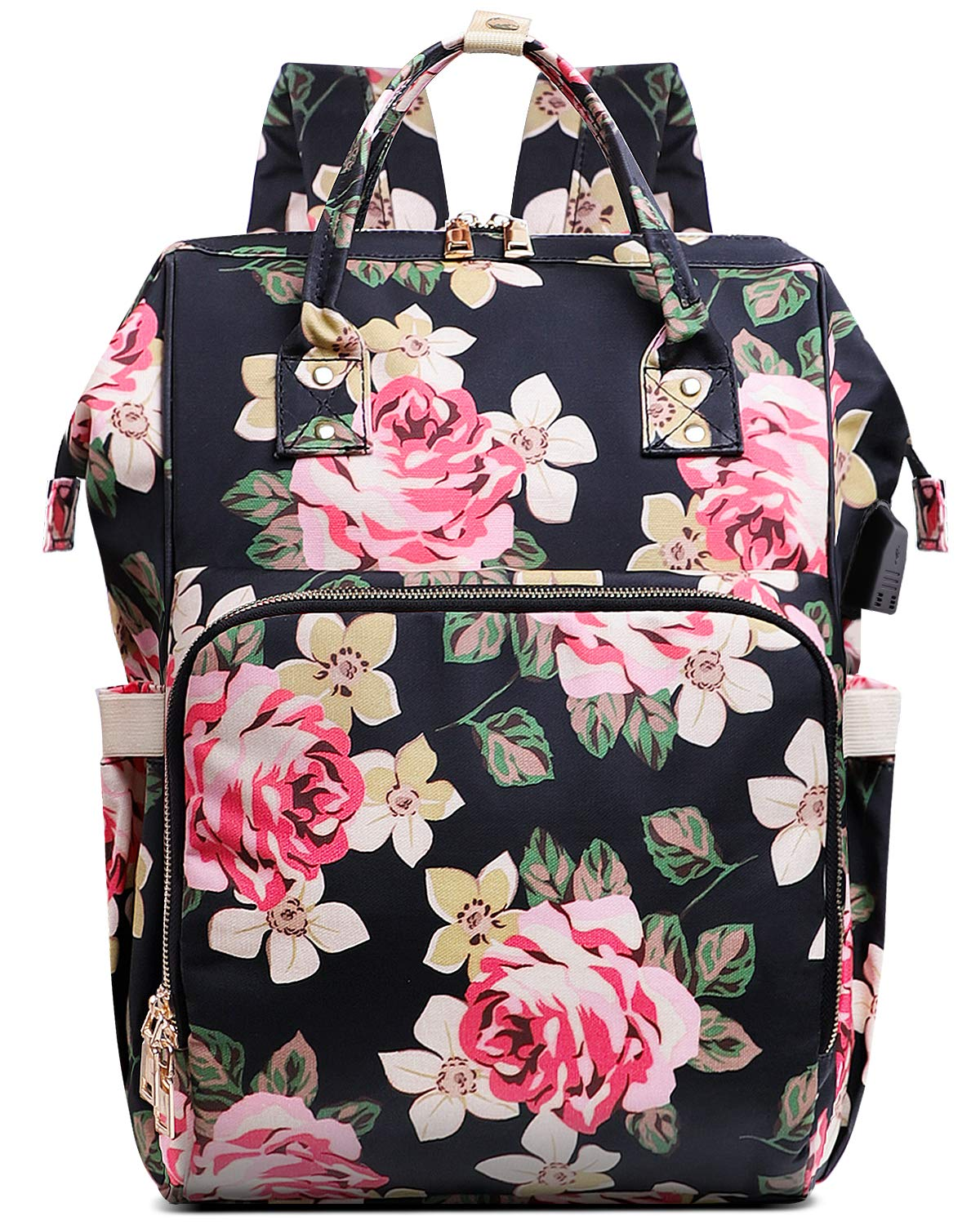 Laptop Backpack,15.6 Inch Stylish College School Backpack with USB Charging Port,Water Resistant Casual Daypack Laptop Backpack for Women/Girls/Business/Travel (Flower Pattern) by VSNOON
