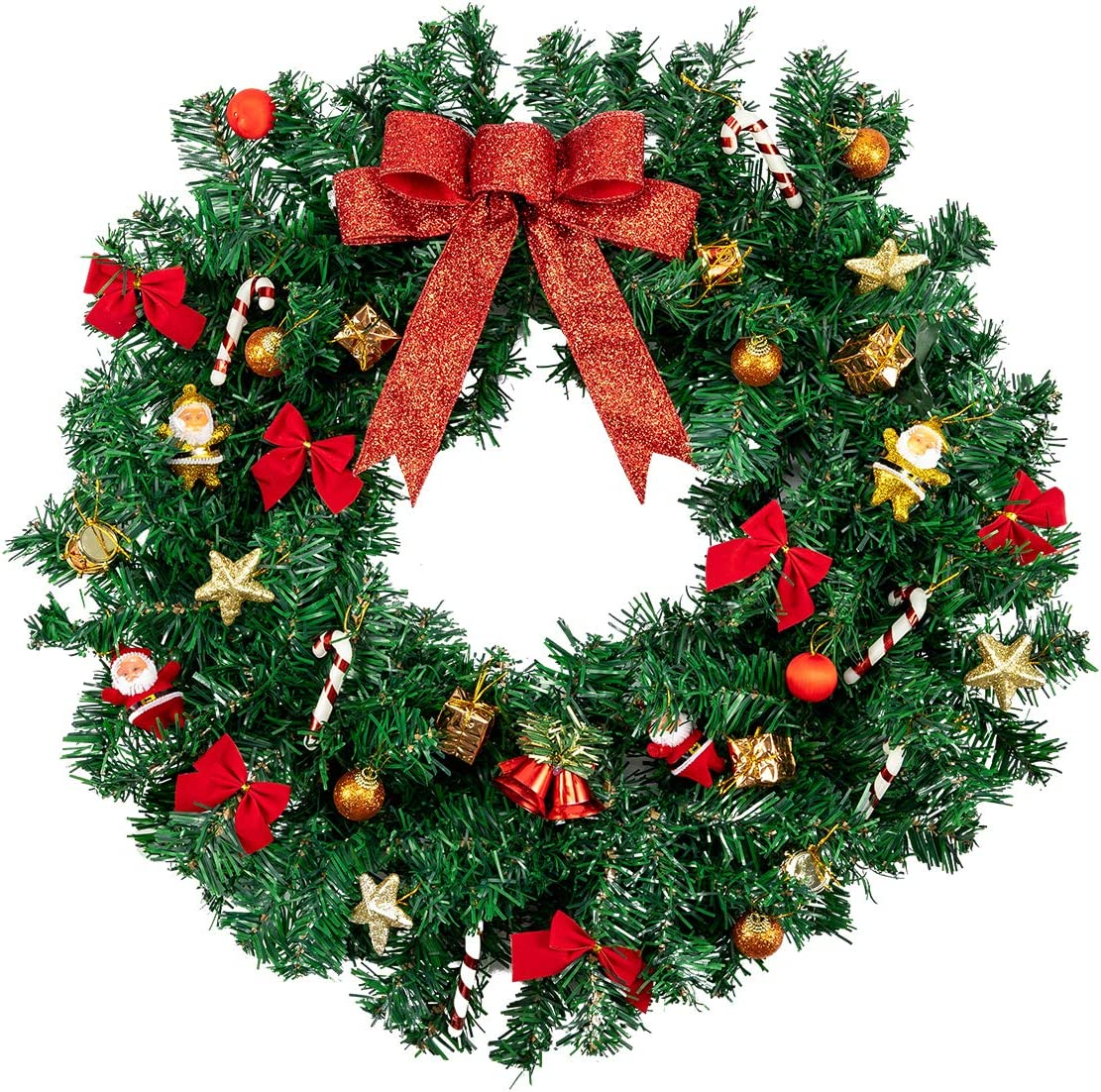 OULII Christmas Garland Christmas Wreath for Hanging Door Decoration