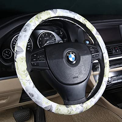 BINSHEO Fashion Car Floral Automotive Steering Wheel Cover,for Women Girls Ladies,Anti Slip Universal 15,Chinese Style, White with Black: Automotive