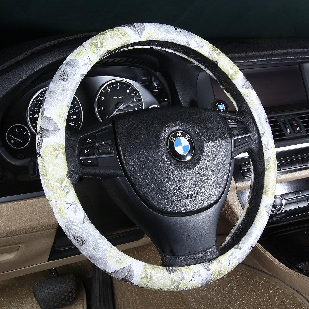 BINSHEO PU Leather Auto Car Steering Wheel Cover Women Girls Ladies, Anti Slip Non-Toxic Universal 15 inch, Chinese Style, Black Flowers