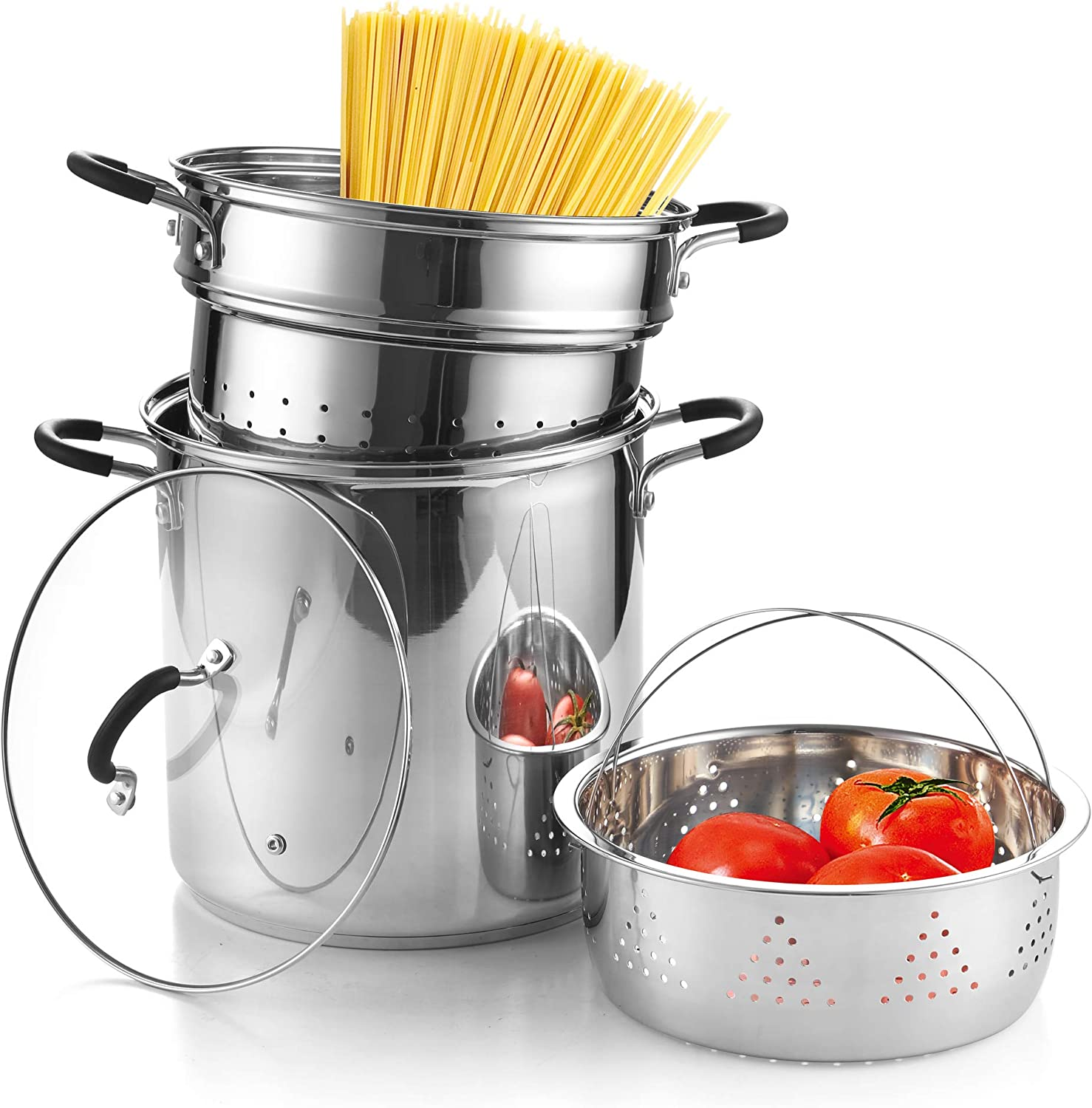 Cook N Home 02654 4-Piece Stainless Steel Pasta Cooker Steamer Multipots, 12 Quart, Silver