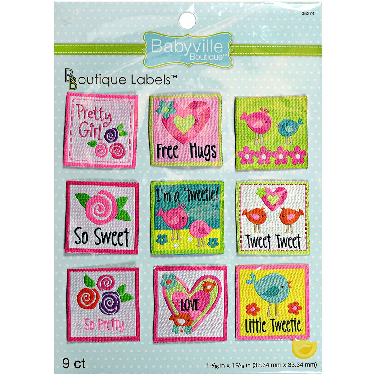 9-Count Babyville Boutique 35274 Labels Little Birds /& Flowers
