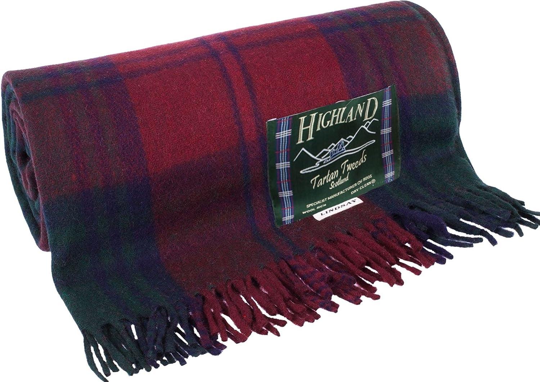 I LUV LTD Lindsey Tartan Burgundy Tweed Sofa Throw Blanket 75% Wool Plaid Large Outdoor Blanket Throw Blankets for Couch