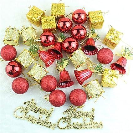 Yansanido 32 Pack Mixed Christmas Tree Ball Ornaments Set Xmas Tree Decorations Christmas Decorations Tree Balls Pastel Small For Holiday Wedding