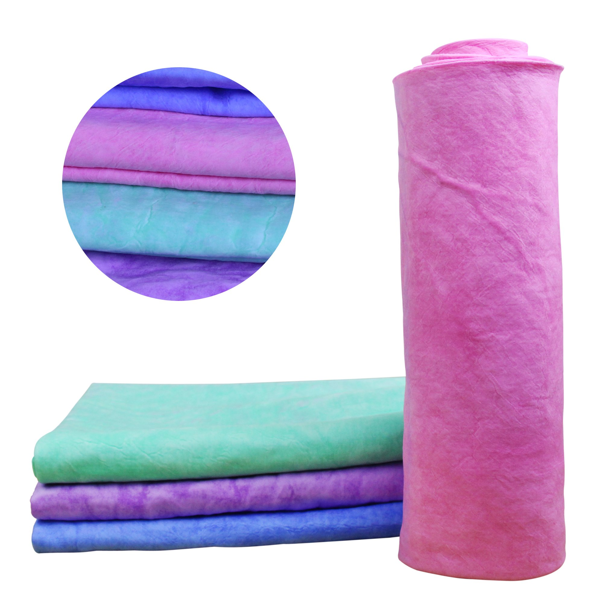 K.T.Fancy 4 Color 27'' x 17'' Fast Drying PVA Chamois Towel Super Absorbent(4 X Mixed Color)