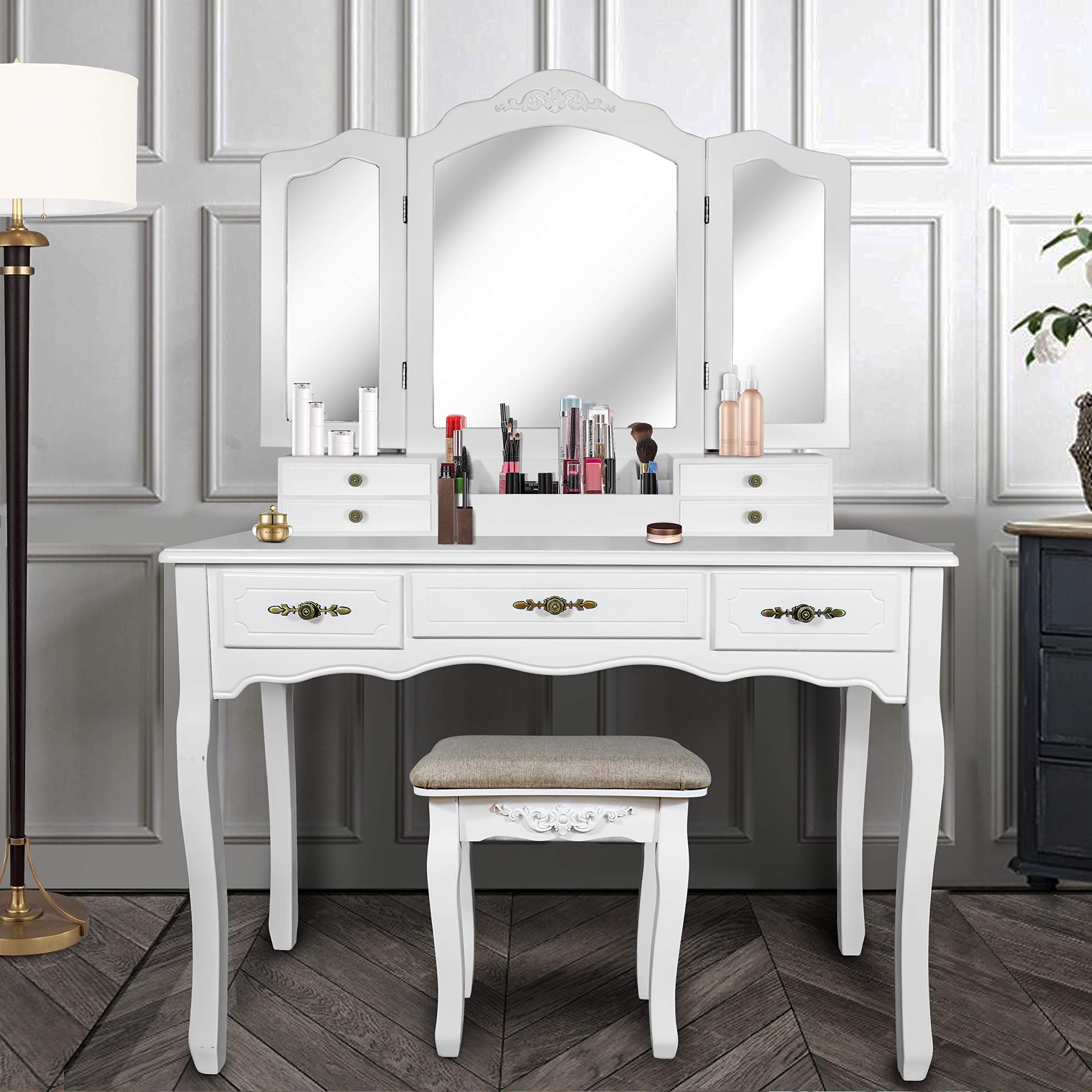 Vanity Beauty Station,Large Tri-Folding Necklace Hooked Mirrors,6 Organization 7 Drawers Makeup Dress Table with Cushioned Stool Set - White by ENSTVER (Image #2)