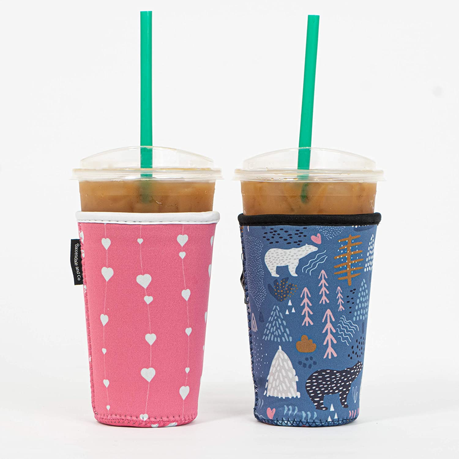 Reusable Insulated Neoprene Iced Coffee Beverage Sleeve | Cold Drink Cup Holder for Starbucks Coffee, McDonalds, Dunkin Donuts, Tim Hortons and More (2 PK Medium 22-24oz, Bear & Hearts)