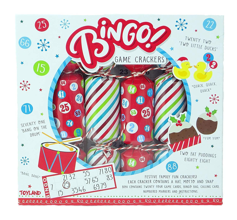 Bingo-Spiel-Weihnachtscracker Neuheit-Weihnachtscracker Toyland Pack von 6 Party-Spiele