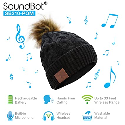 4a8f2b81f67 Amazon.com  SoundBot¨ SB210 HD Stereo Bluetooth 4.1 Wireless Smart Beanie  Headset Musical Knit Headphone Speaker Hat Speakerphone Cap
