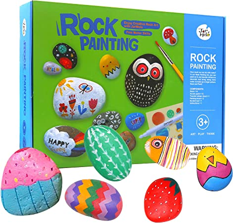 Jar Melo Rock Painting Kits for Kids; Non-Toxic; Hide and Seek Rock ; Creative Magic Stone; Paint Rocks; Arts and Crafts Kits for Adults and Kids Ages 4-8