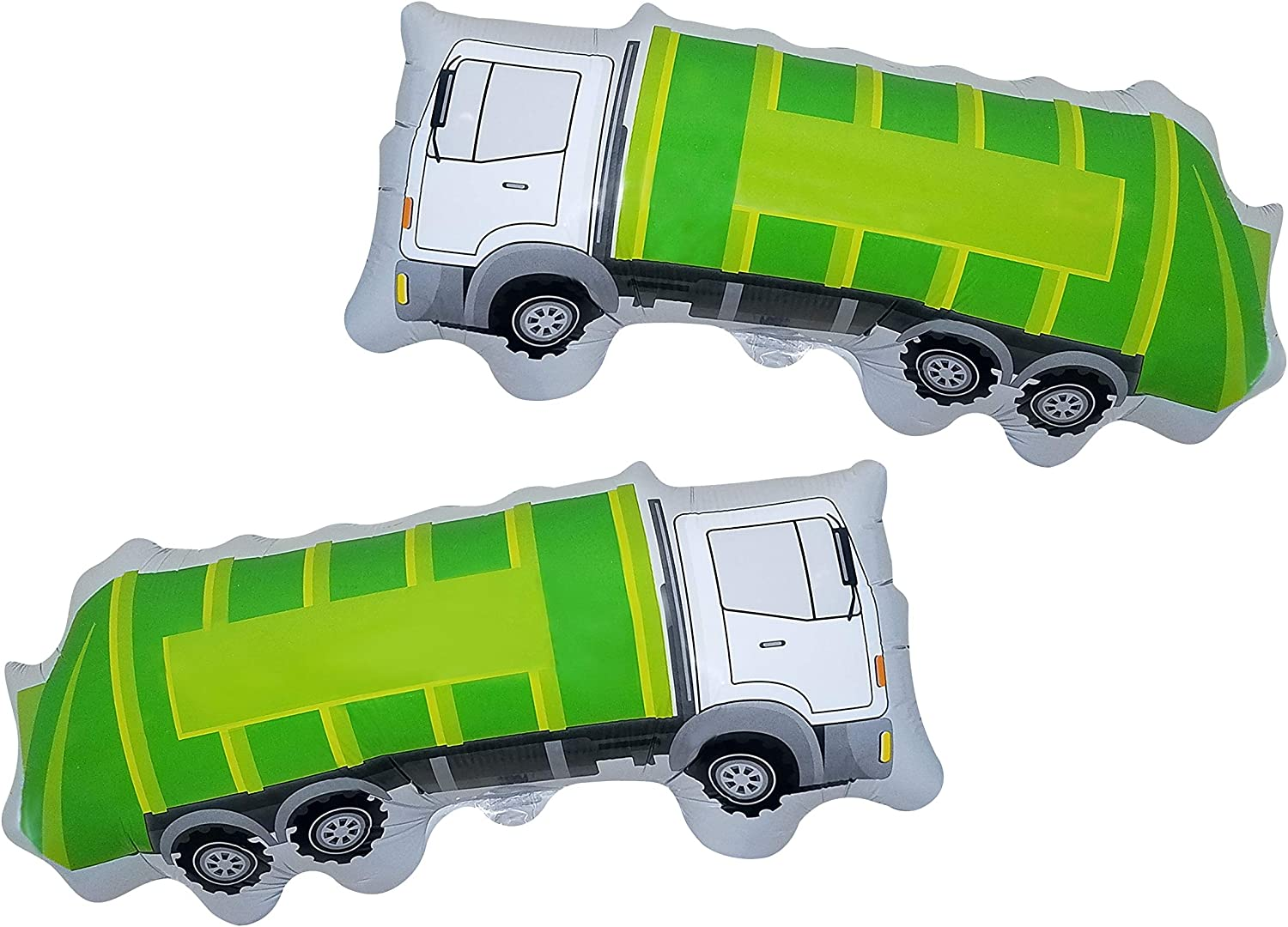 Garbage Truck Balloon - 2 Large Trash Truck Foil Balloons - Garbage Truck Birthday Party Supplies - Perfect for Birthday Parties, Events, Decoration, or a Truck Party - Ribbon Included