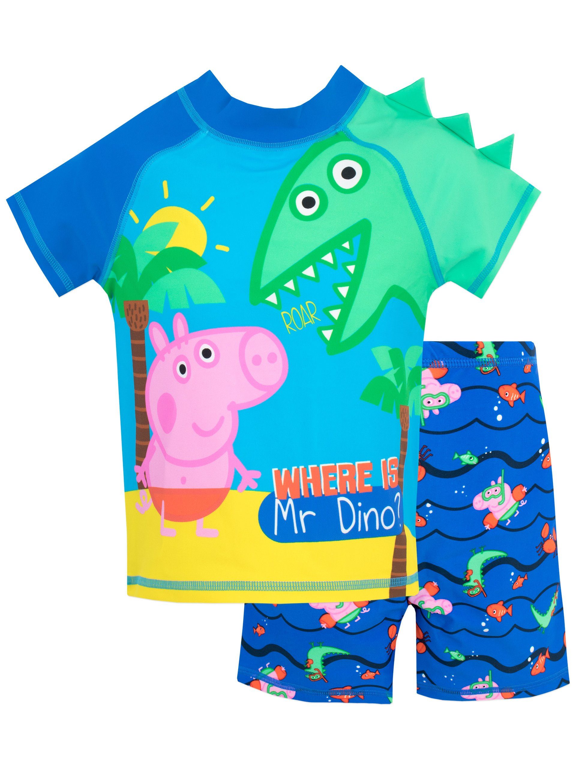 Peppa Pig Boys' George Pig Two Piece Swim Set Size 7 Multicolored