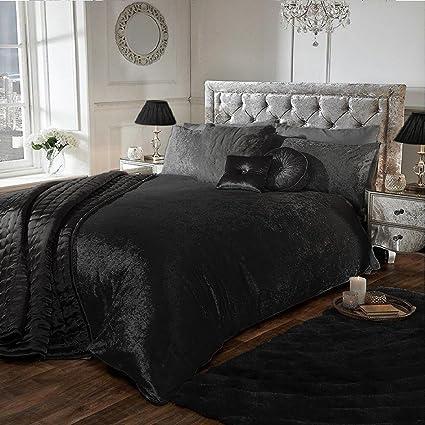 b427bf73414f6 Luxury Crushed Velvet Duvet Quilt Cover Bedroom Bedding Set (Black,  Double): Amazon.co.uk: Kitchen & Home