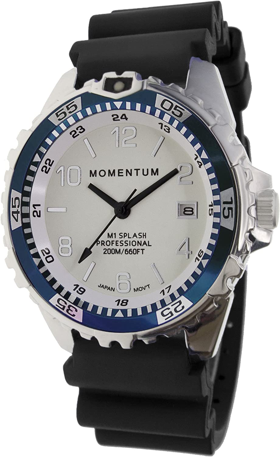 Momentum Men Women s Dive Series Quartz Sports Watch – M1 Splash Water Resistant, Easy to Read White Luminous Dial, Date, Screw Crown, Stainless Steel Case Bezel Black Band Analog