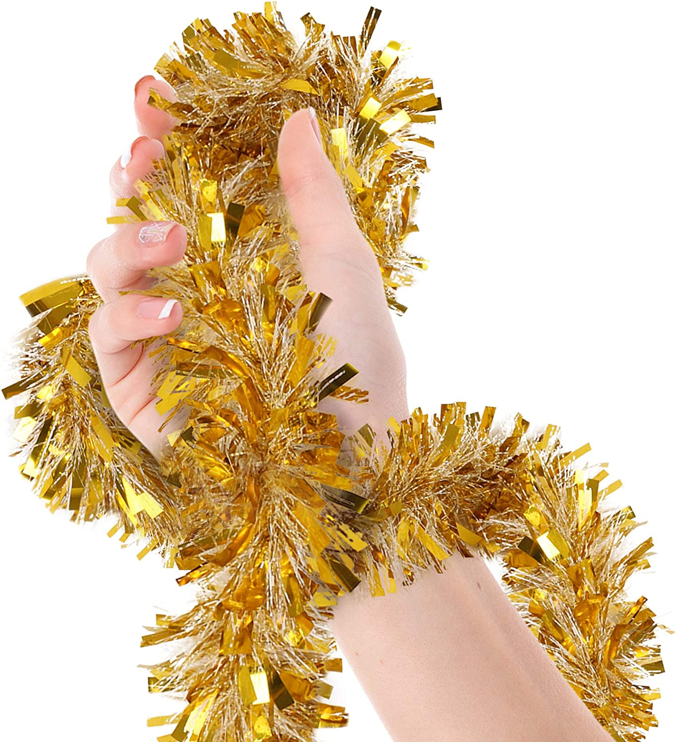 Christmas Tree Gold Tinsel Garland Wide Cut Gold Metallic Streamers Celebrate a Holiday New Years Eve Happy Party Ceiling Hanging Decorations Indoor and Outdoor Disco Party Supplies