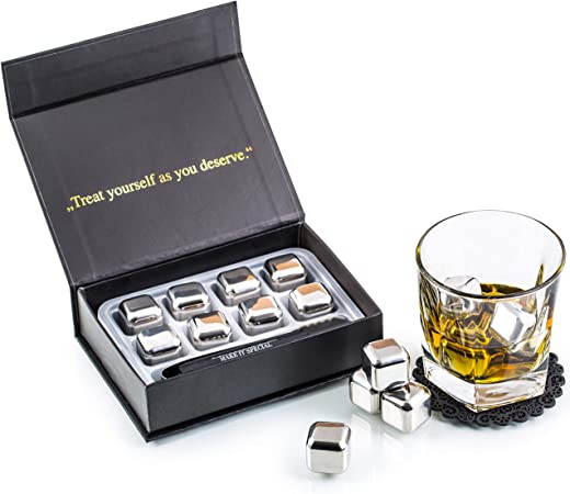 Kollea Whiskey Stones Gift Set With 8 Stainless Steel Ice Cubes and Two Whiskey Glasses Reusable Stainless Steel Chilling Rocks /& Tongs Gift Box Packaging Gift for Men