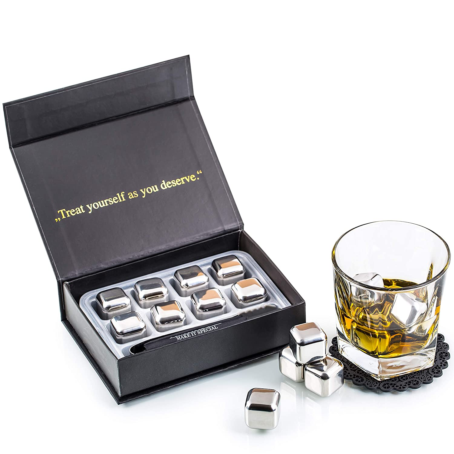Exclusive Whiskey Stones Gift Set - High Cooling Technology - Reusable Ice Cubes - Stainless Steel Whiskey Ice Cubes - Whiskey Rocks - Whiskey Gifts for Men - Best Man Gift with Coasters + Ice Tongs Amerigo
