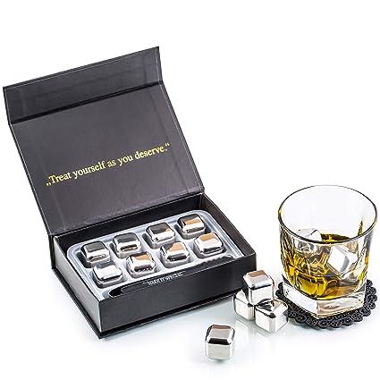 Exclusivo Whisky Piedras Set de Regalo de Acero Inoxidable - Alta Tecnología de Refrigeración - Whisky Stones Gift Set - 8 Reutilizables Cubitos de ...