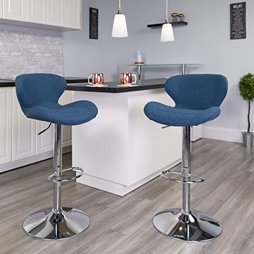 Flash Furniture 2 Pk. Contemporary Blue Fabric Adjustable Height Barstool with Curved Back and Chrome Base