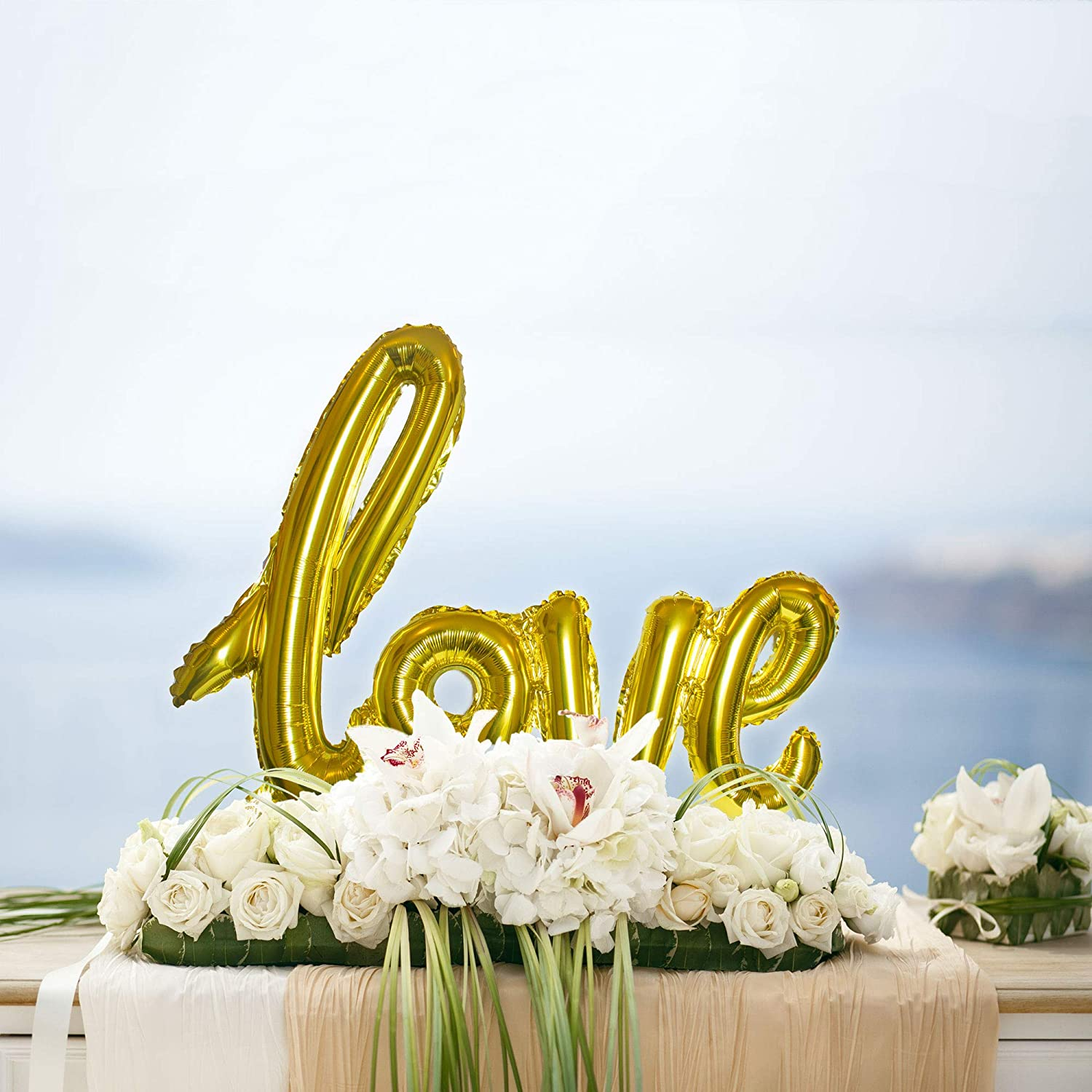 Bridal Shower or Birthday Marry Party Christmas Day Love Balloon Champagne Gold Letter Banner Writing Script Handwriting Decorations Valentines Wedding Romantic Gifts Balloon Anniversary Decor