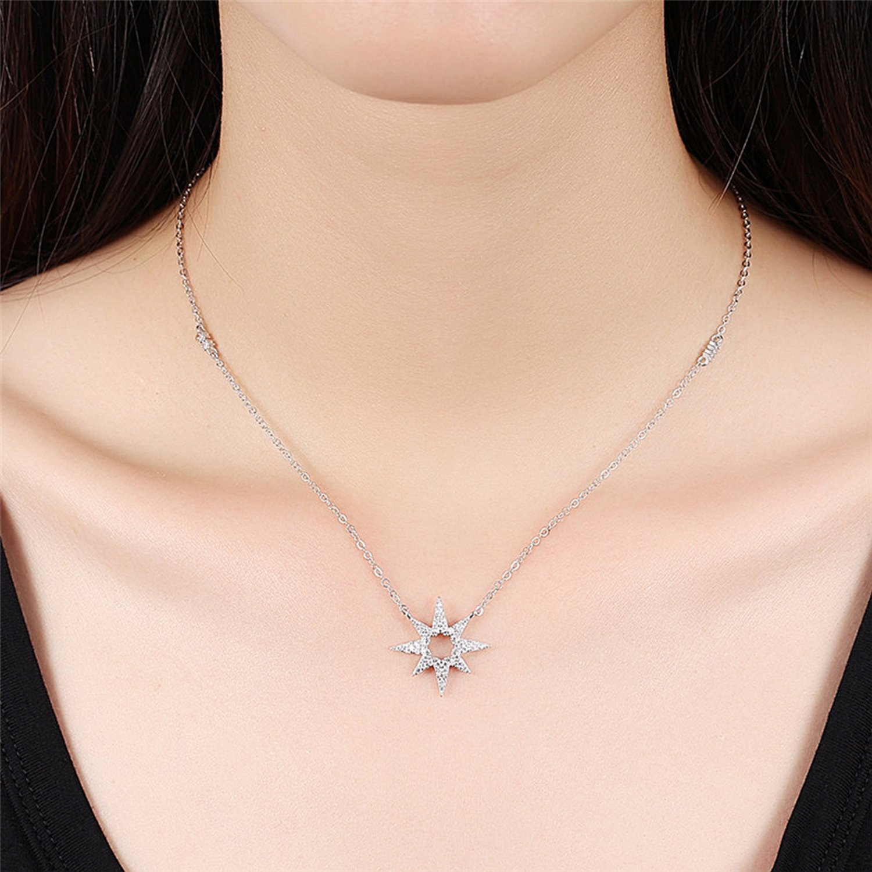 CS-DB Pendants Flower Star Silver Necklaces